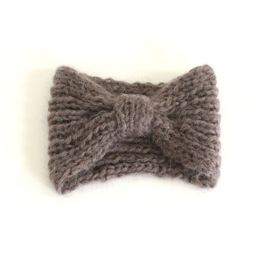 Mohair Knitted Hairband  (Charcoal)