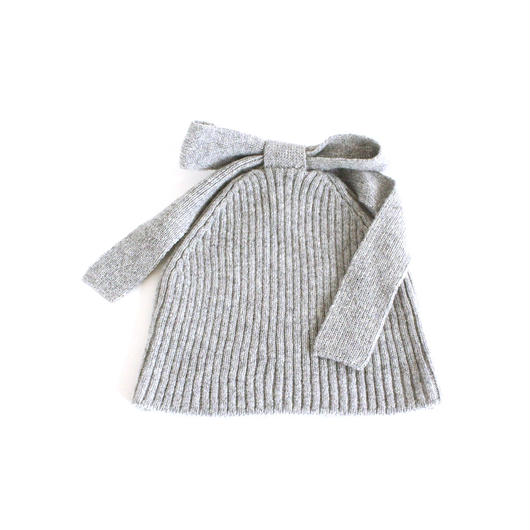 Ribbon Knitted Cap (Light Gray)