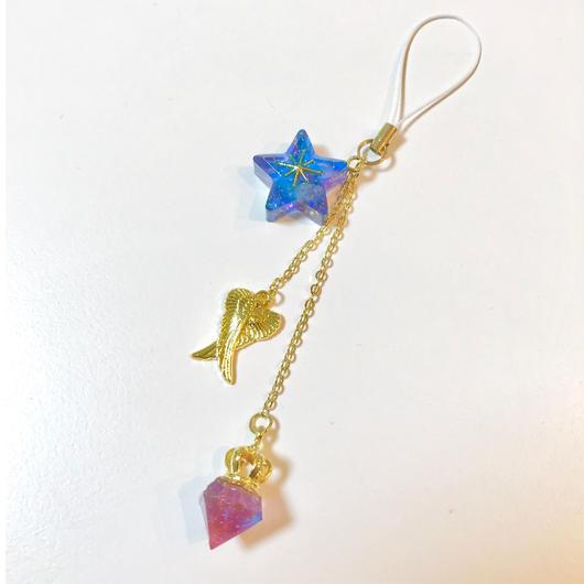 【願いが叶う!】星のオルゴナイトと天使の羽ストラップ