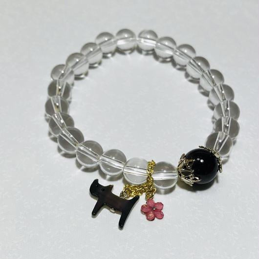 黒猫チャーム 1月誕生石ガーネットブレスレッド【レディース】