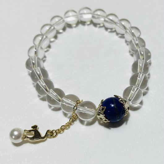 パール猫チャーム 9月・12月誕生石ラピスラズリブレスレッド【レディース】
