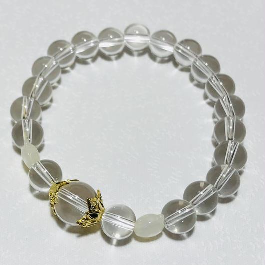 白猫シェル4月誕生石クリスタルブレスレッド【レディース】