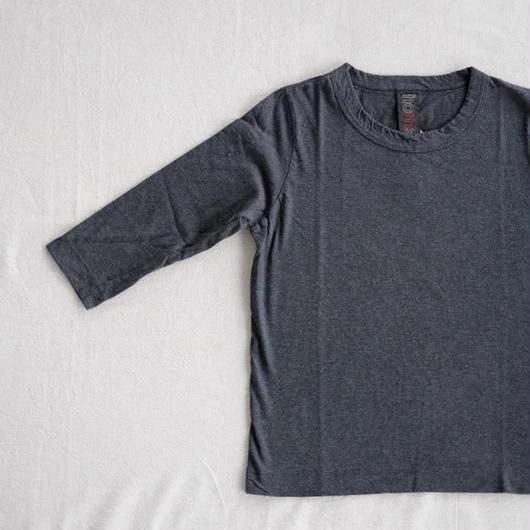 homspun  天竺七分袖Tシャツ・topチャコールグレー