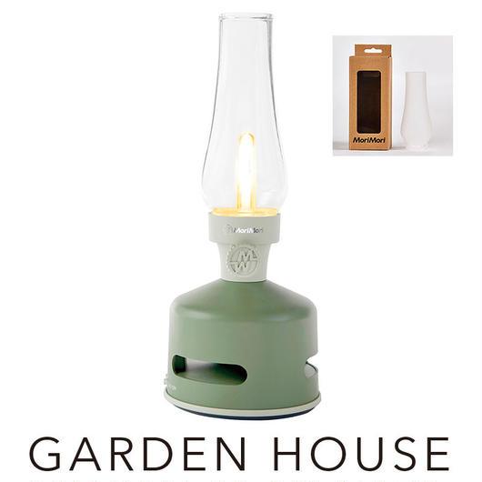 MoriMori フロストガラスグローブセット LED ランタンスピーカー GARDEN HOUSE (グリーン色) FLS-1705- GR-FG