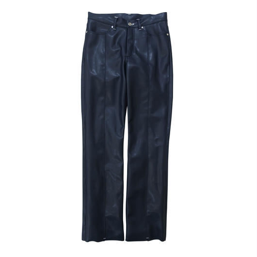 2 PANELS LEATHER TROUSERS / NAVY