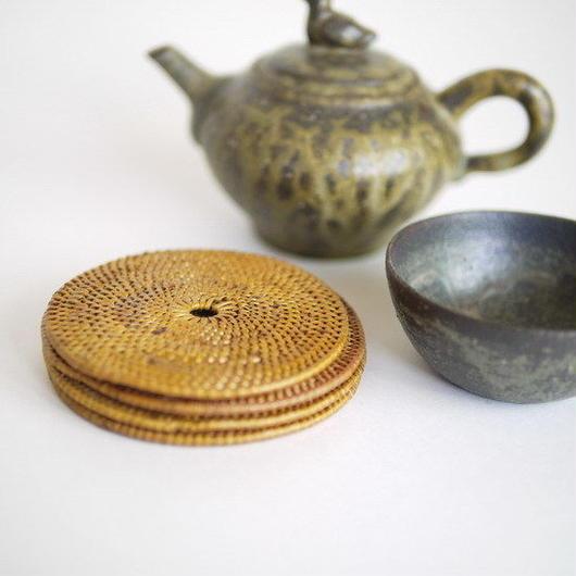タイの民藝 籐組茶托 4客組