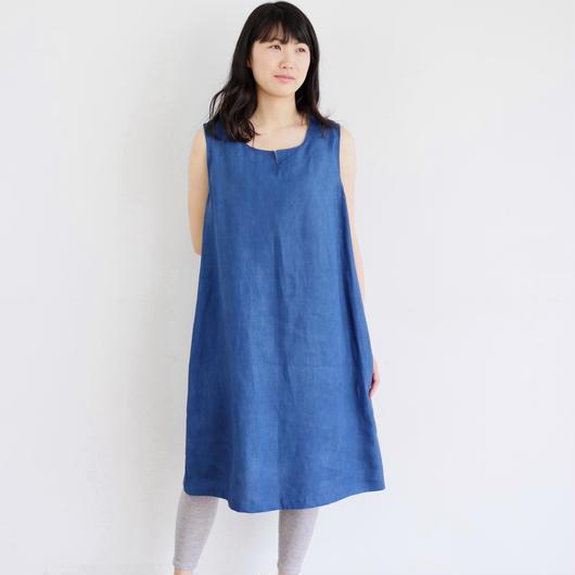 エシカルヘンプノースリーブワンピース カレン族藍染め 藍色