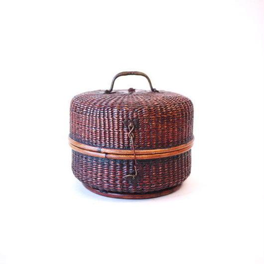【SALE】時代物 タイ製籐組手付籠