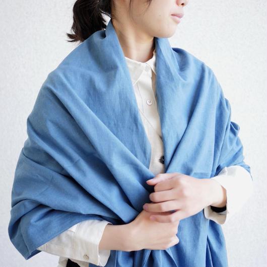 【残り1点】エシカルヘンプ平織ストール 正藍染め藍色