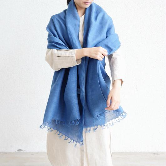 【残り1点】エシカルヘンプ手織りストール 正藍染め藍色 M