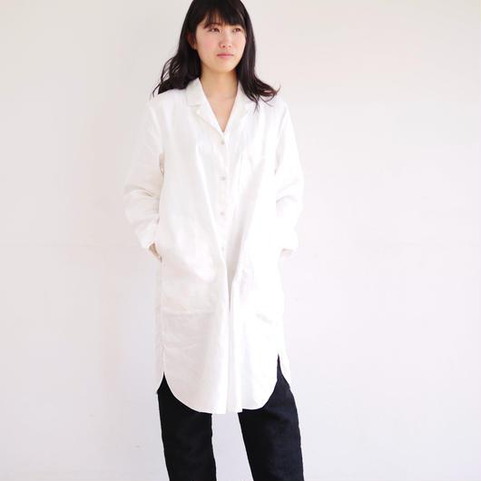 エシカルヘンプオープンカラーシャツワンピース 白色
