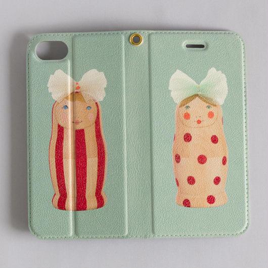 """iphone7/8兼用ケース 手帳型  """"Tulle antiqua (mint)"""""""