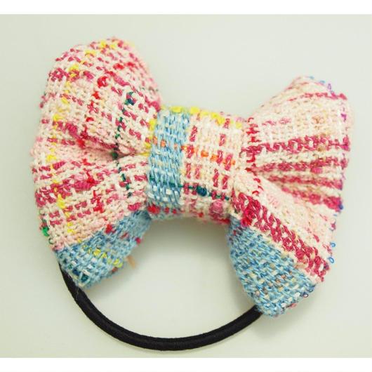 ピンクの手織りリボンゴム