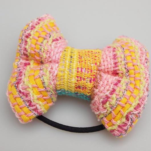 きいろとピンクの手織りリボンゴム