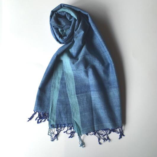 KHADI 手織り大判ストール   BLUE