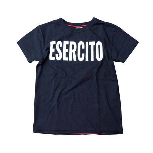SHORT SLEEVE ESERCITO PRINT TEE SHIRT with SMALL POCKET BLACK