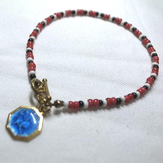 40's St.Christopher Charm + Vintage Beads Bracelet