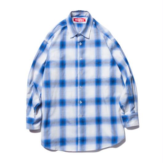 BONES AND BOLTS - O.D L/S SHIRT (OMBRE CHECK) ブルー