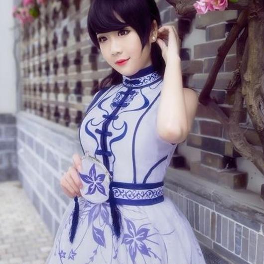 ミラクルニキ風コスプレ衣装★青い花のチャイナワンピース【L】