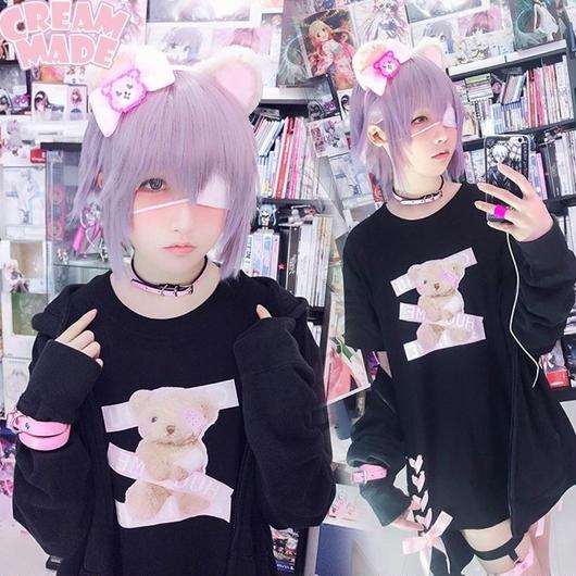 眼帯くまちゃんの編み上げシャツワンピース【3色】