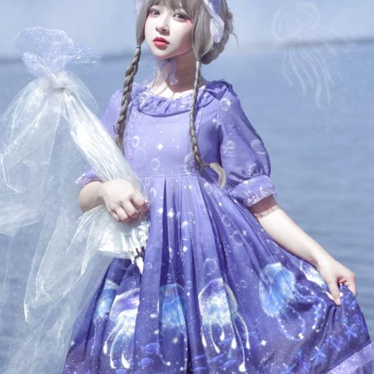 【ご予約専用商品】くらげワンピース紫色(M)