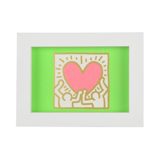 Framed Embossed Postcard  額装ポストカード  箔押し (Holding Heart)