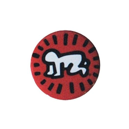 Keith Haring Round Magnet (Radiant Baby) Red