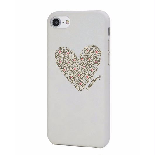 Keith Haring Collection PU Case for iPhone 7 (Heart/White x Gold)