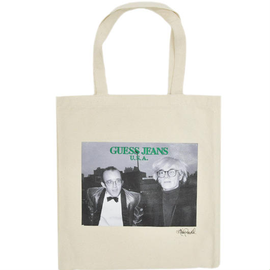 GUESS GREEN LABEL Keith & Andy Tote Bag (White)