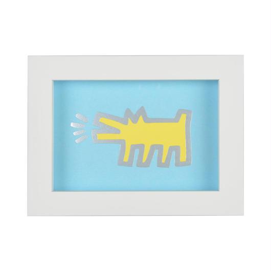 Framed Embossed Postcard  額装ポストカード  箔押し (Barking Dog)