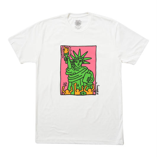 "Keith Haring Unisex T-Shirts ""Green Liberty"" White キース・ヘリング ユニセックス Tシャツ"