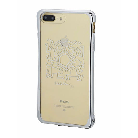 Keith Haring Collection TPU Case for iPhone 7 Plus (Hexagon Figs/Metallic Silver)