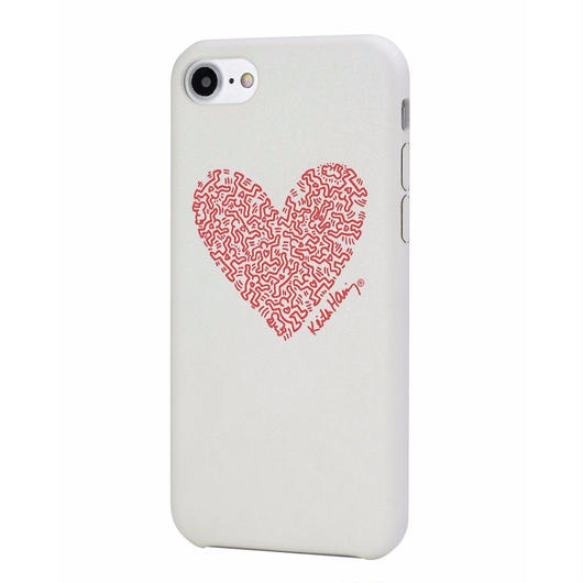 Keith Haring Collection PU Case for iPhone 7 (Heart/White x Red)