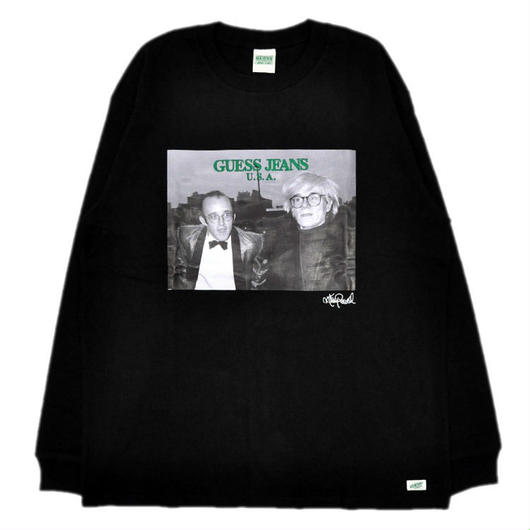 GUESS GREEN LABEL Keith Haring & Andy Warhol Long Sleeve Tee (Black)