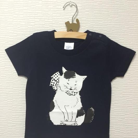 猫舞伎キッズTシャツ ネイビー