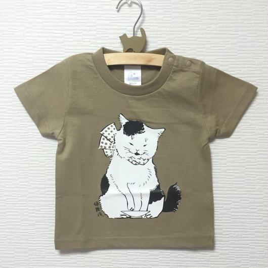 猫舞伎キッズTシャツ カーキ