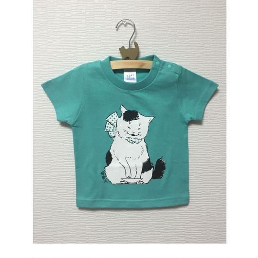 猫舞伎キッズTシャツ ミントグリーン、ターコイズブルー、ネイビー