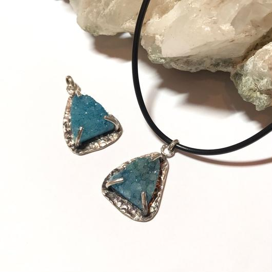 Triangular quartz charm