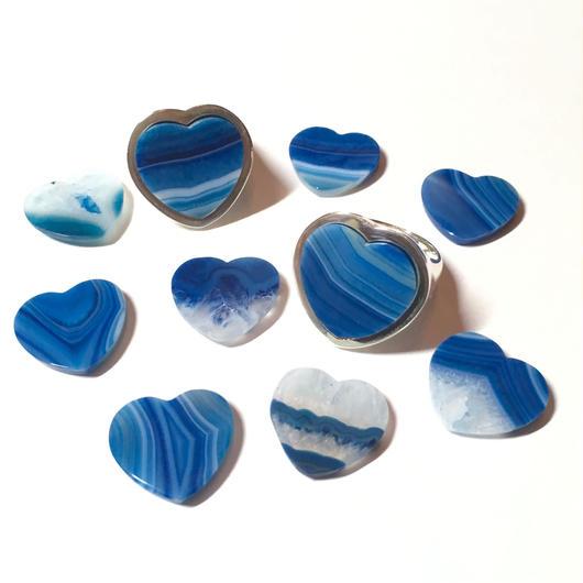 【受注商品】Heart agate ring〈ブルー系〉