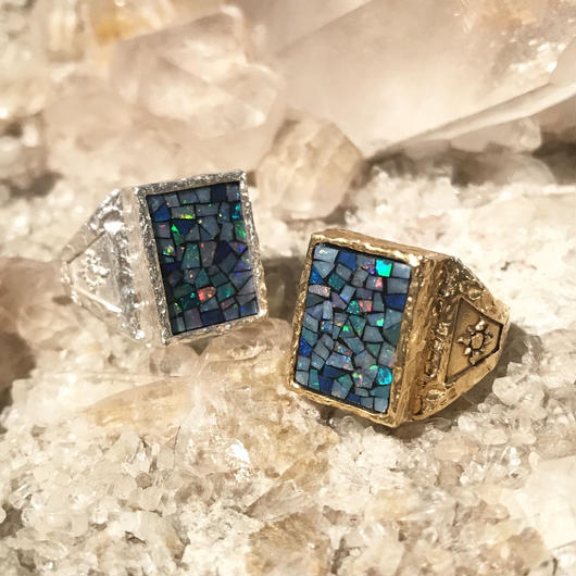 【受注商品】Square mosaic opal ring