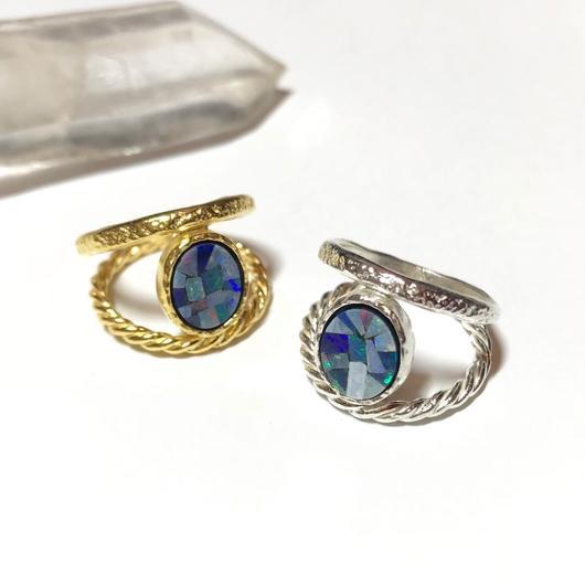 【受注商品】2連 Mosaic opal ring