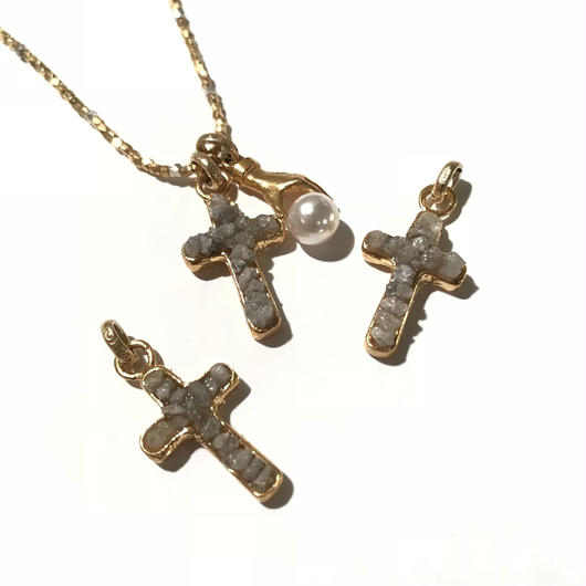 Diamond cross charm  <Gray>
