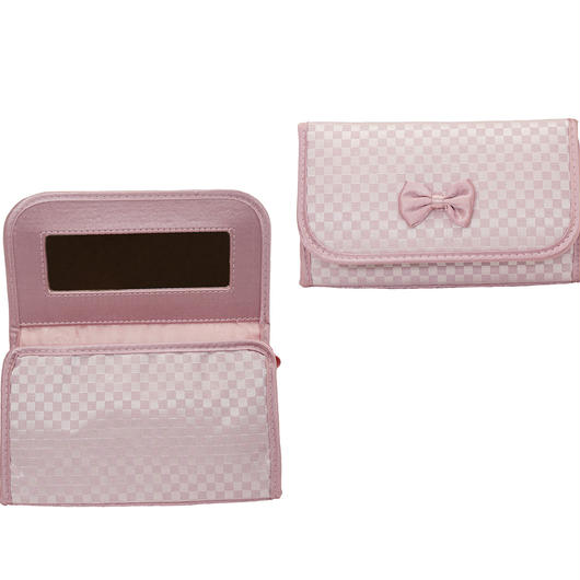 NaRaYa(ナラヤ) ミラー付き化粧ポーチ・ミニチェック柄(ピンク)NBCS-60H/S