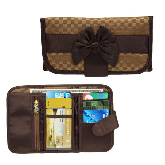 ナラヤ(NaRaYa) 三つ折財布(スリムタイプ・ファスナー付小銭入れ付)・ミニチェック柄(ブラウン) NBCS-268A