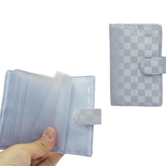 NaRaYa(ナラヤ) 12枚クリアーファイル付カードケース・チェック柄(プラチナ)(NBC-311)