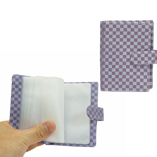 NaRaYa(ナラヤ) 12枚クリアーファイル付カードケース・ミニチェック柄(ライトパープル) NBCS-311A