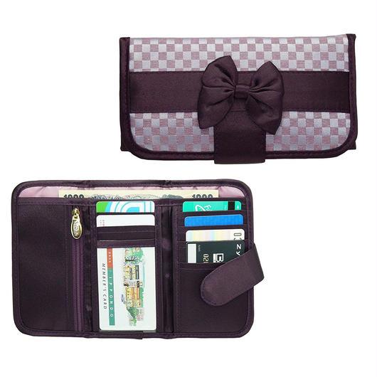 ナラヤ(NaRaYa) 三つ折財布(スリムタイプ・ファスナー付小銭入れ付)・ミニチェック柄(ライトパープル) NBCS-268A