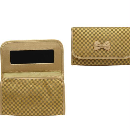 NaRaYa(ナラヤ) ミラー付き化粧ポーチ・ミニチェック柄(ディープゴールド)NBCS-60H/S