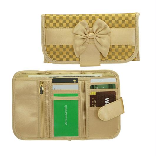 ナラヤ(NaRaYa) 三つ折財布(スリムタイプ・ファスナー付小銭入れ付)・ミニチェック柄(ディープゴールド) NBCS-268A