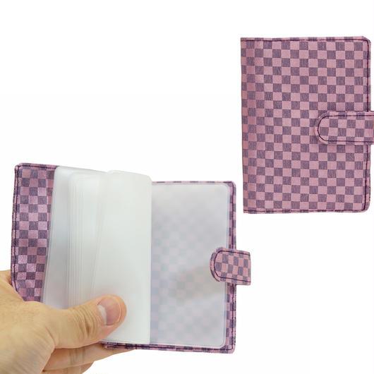 NaRaYa(ナラヤ) 12枚クリアーファイル付カードケース・ミニチェック柄(パープルピンク) NBCS-311A